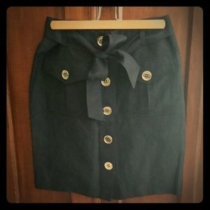 Adrienne Vittadini Women's Black Skirt w/ Buttons